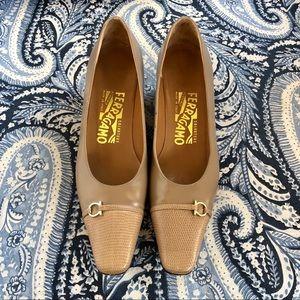 Salvatore Ferragamo Heels Tan Leather 6 Italy